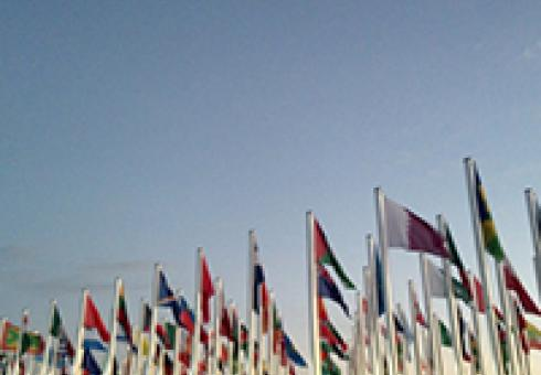 World flags eave outside the UNFCCC COP22 conference venue in Marrakech, Morocco on Nov. 8 (Photo by Jennifer Perron/Climate CoLab)