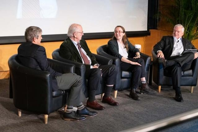 Panelists at the MIT Climate Symposium: Steven Ansolabehere, Henry Jacoby, Leah Stokes, and Richard Schmalensee.
