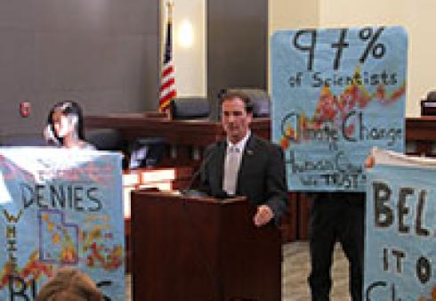Young people challenge Rep. Chris Stewart (R-UT) for being a climate denier at a town hall meeting on April 2, 2013. Source: Climate Truth